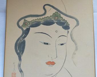 Vintage Hand painted Japanese shikishi  painting Japanese deity goddess,