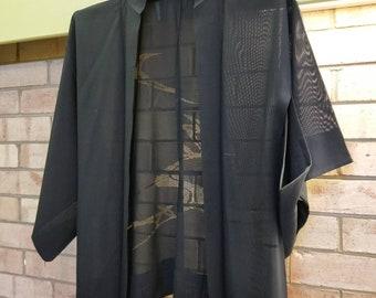 Vintage simple black hand stitched Japanese Ro silk. silk gauze haori  kimono jacket with cut work pattern