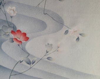 "Vintage Japanese silk kimono fabric 92 cm x 36 cm  grey silk print and hand painted flowers 36"" x 14"""