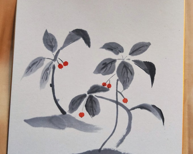 Vintage Hand painted Japanese shikishi  paintings Japanese forest berries in grey and red