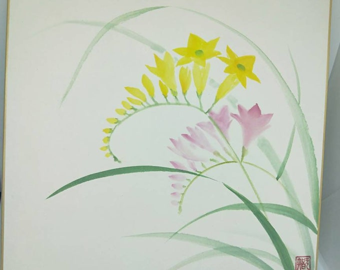Vintage delicate hand painted watercolour Japanese shikishi painting of spring wildflowers. Signed . Decorative art great for display.