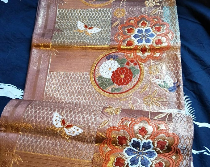 Beautiful vintage Japanese fukuro  obi  woven butterflies and flowers in mettalic celadon purple,  and brown with metallic threads