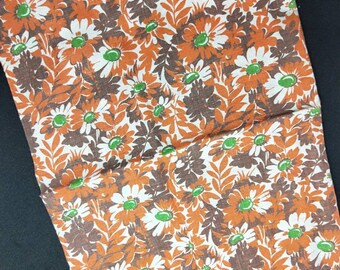 "Vintage American Feed sack fabric 1940's original not reproduction fat quarter 18"" x 22"" flower floral red brown , dark brown and green."