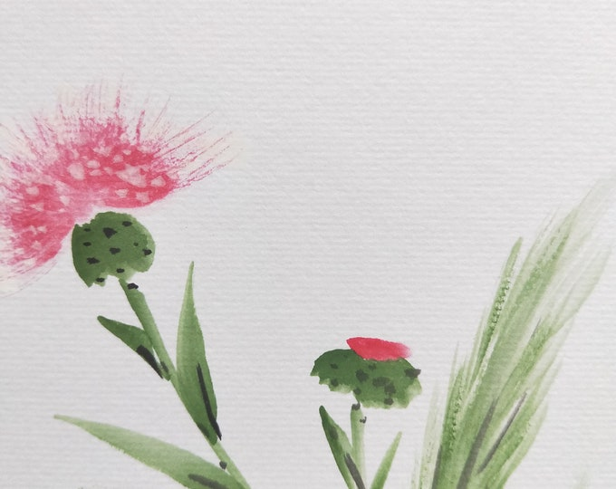 Vintage Hand painted Japanese shikishi  paintings Mountains flowers and wild grass with calligraphy