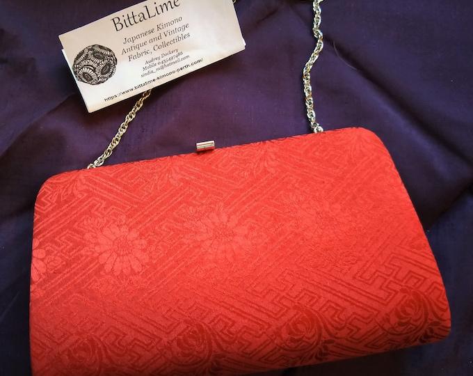 Vintage Japanese kimono clutch evening bag handbag with kimono fabric woven flowers brown / wine red