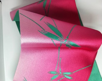 Vintage Japanese Hanhaba (half-width obi) with dragonfly. Bright cerise pink and electric teal, jacquard weave reverse for kimono