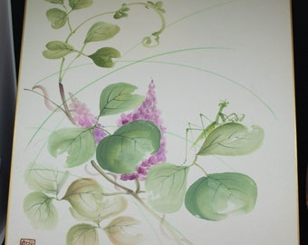 Vintage Hand painted Japanese shikishi paintings with praying mantis and leaves,  signed. Delicate and subtle
