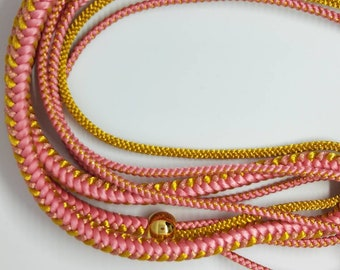 Vintage Japanese hand braided silk kumihimo obijime cord for obi   rich pink with gold thread, beads, artificial pearls, round type.