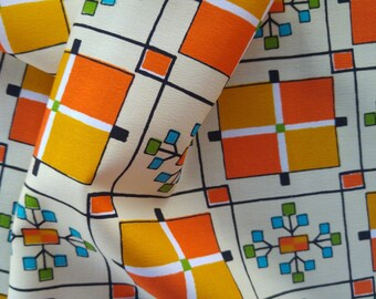 "Vintage Japanese retro wool kimono fabric 92 cm x 36 cm orange french floral 36"" x 14 """
