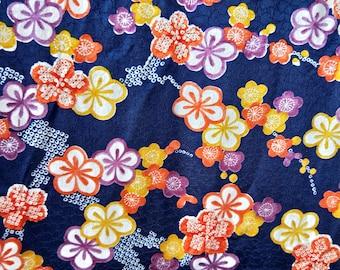 "Vintage Japanese silk rinzu fine weaves kimono fabric 84 cm x 36 cm with plum blossoms  33"" x 14"""