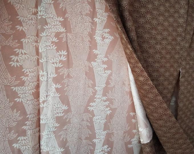 Vintage Japanese cool brown silk haori  kimono jacket katagami stencil dyed pattern. Elegant and subtle.