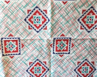 """Vintage American Feed sack fabric fat quarter 18"""" x 22' cotton novelty geometric south western style pattern"""