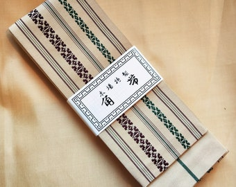 Men's kaku obi with textured woven pattern cream with soft muted wine and green, stripe reverse for kimono