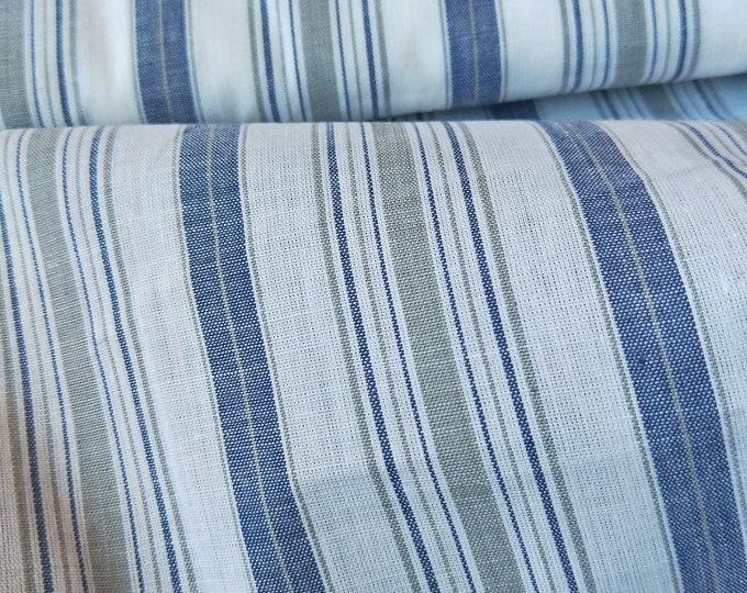 Vintage Japanese kimono blue, grey and white cotton woven yukata fabric 92 cm x 36 cm stripe