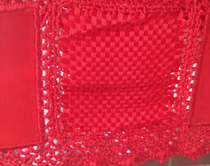 Vintage Japanese red velvet and ribbon weaving shawl for kimono  crochet trim and detail