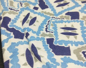 """Vintage American Feed sack fabric 1940's original not reproduction fat quarter 18"""" x 22"""" atomic pop geometrics in blue, grey and royal blue."""