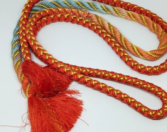 Vintage Japanese hand braided silk kumihimo obijime cord for obi  soft graduated blue, pink, orange, with gold thread,  round type.