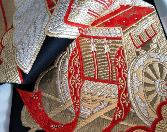 Vintage Japanese fukuro silk woven carriage black reverse, gold  metallic threads. Red, silver and gold colours. Not Mint