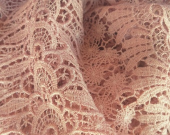 Vintage Japanese lace shawl for kimono dusky pink lace