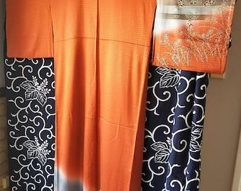 Beautiful vintage Japanese rinzu silk houmongi hand stitched kimono orange w/hand painted flowers. Glorious sheen, excellent condition