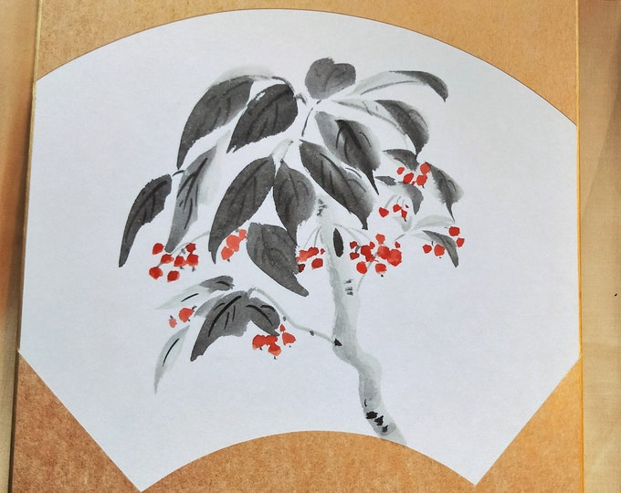 Vintage Hand painted Japanese shikishi  paintings Japanese flowering tree in fan shape