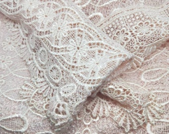 Vintage Japanese lace shawl for kimono pale pastel pink lace. Beautiful detailed pattern and motifs.  Sweet and sophisticated.