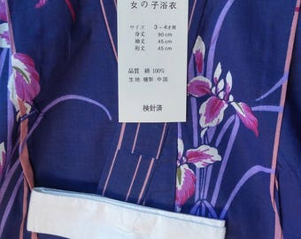Japanese cotton yukata for kids / young girl with iris and dragonflies blue