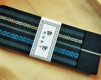 Men's kaku obi with textured woven pattern black with soft muted blue and cream, stripe reverse for kimono