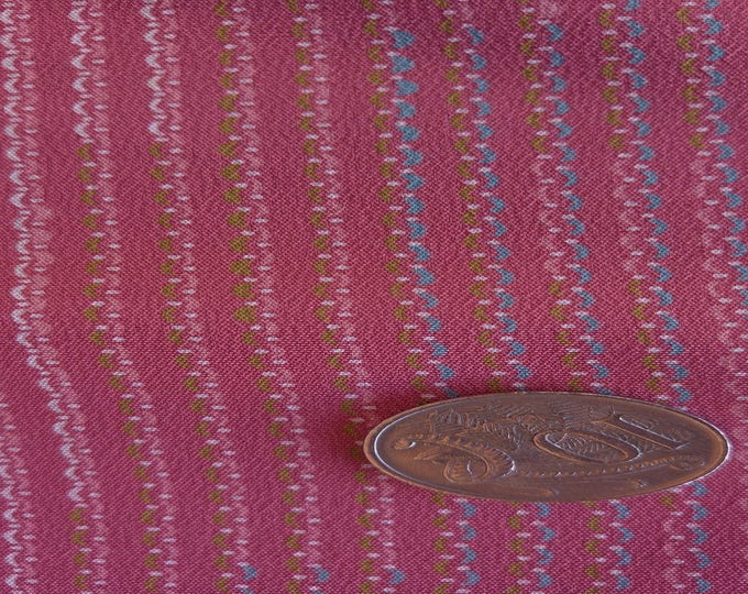 "Vintage Japanese silk kimono fabric 92 cm x 36 cm salmon / dusky pink tiny geometric print 36"" x 14"""