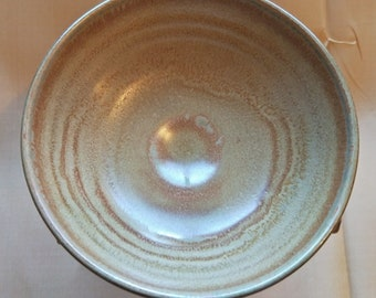Vintage Japanese hand-made glazed tea bowl.  brown and cream glaze with stoneware body.  Summer teabowl
