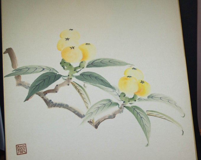 Vintage Hand painted Japanese shikishi paintings berries and leaves,  signed. Delicate and subtle