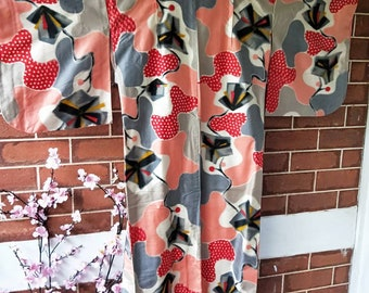 Antique Japanese  Meisen silk /rayon blend kimono abstract and geometric 1940's hand stitched. NOT MINT!