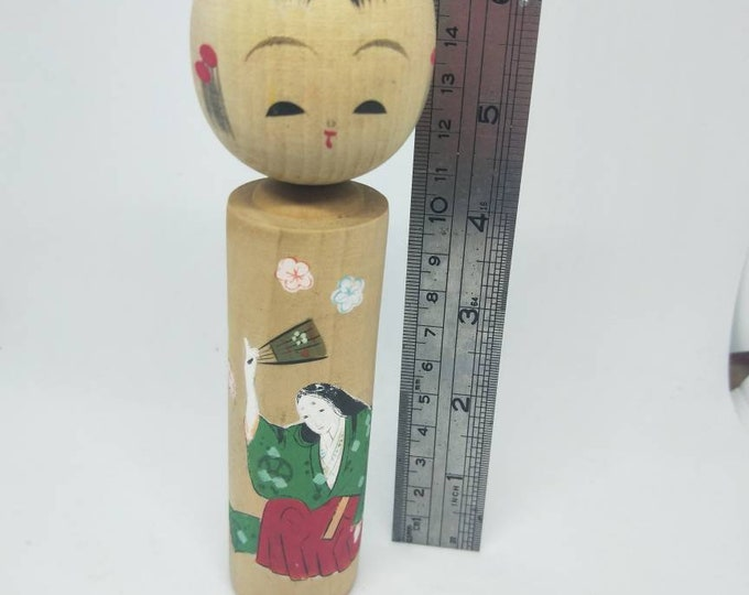 Vintage Japanese hand painted kokeshi doll, with women in kimono detail. Not Mint. Adorable. Unsealed, watercolour painting. 17cm tall