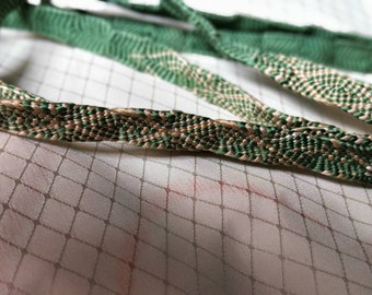Vintage Japanese silk kumihimo obijime cord for obi  brown and warm olive green, flat type.