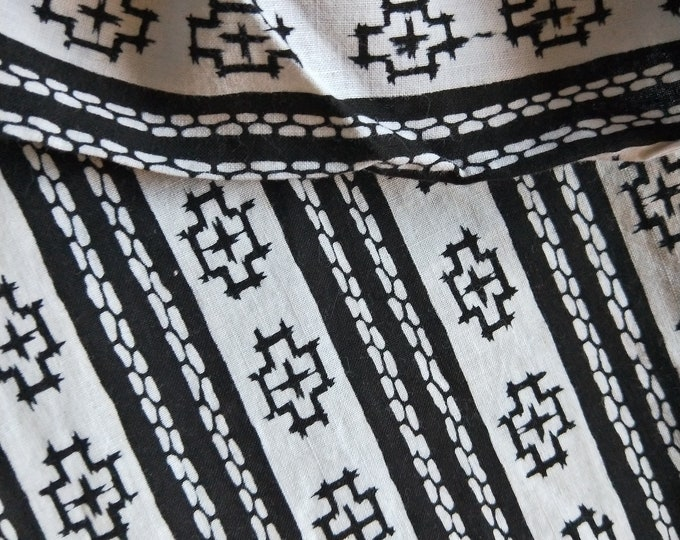 "Vintage Japanese kimono black and white cotton yukata fabric 36"" x 14"" abstract geometric NOT MINT"