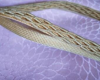 Vintage Japanese silk kumihimo obijime cord for obi  soft golden yellow flat type.