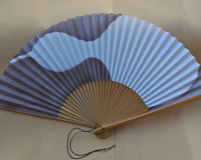 Vintage Japanese paper and wood fan, men's fan with bird picture.