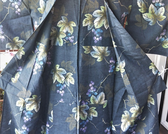 Vintage Japanese cotton yukata kimono grey blue grape leaves and grapes, hand stitched dyed  100% cotton.