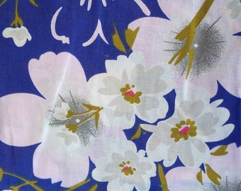 Japanese cotton yukata for kids / young girl with cherry blossoms blue