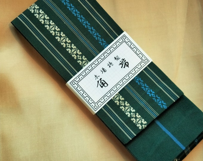 Men's kaku obi with textured woven pattern dark green soft muted blue and cream, stripe reverse for kimono