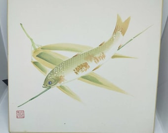 Vintage delicate hand painted watercolour Japanese shikishi painting of trout fish on bamboo. Signed . Decorative art great for display.