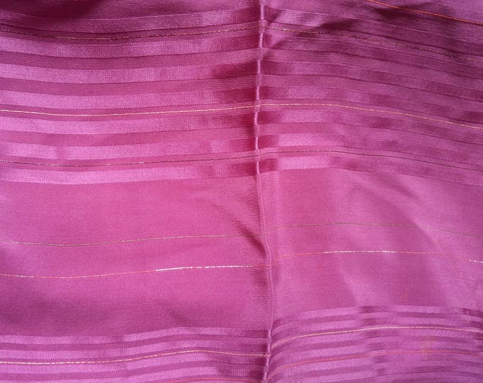 Vintage Japanese silk kimono fabric 110 cm x 36 cm lightweight purple fabric smooth soft shot with silver and red thread
