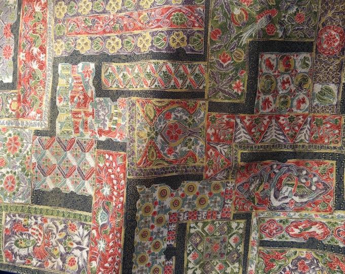 "Vintage Japanese silk kimono fabric 92 cm x 36 cm sarasa patchwork squares  36"" x 14"""