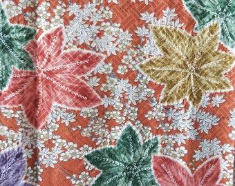 "Vintage Japanese silk rinzu fine weaves kimono fabric 84 cm x 36 cm with shibori maple leaves  33"" x 14"""