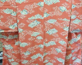 Vintage Japanese soft orange coloured silk kimono fans and flowers