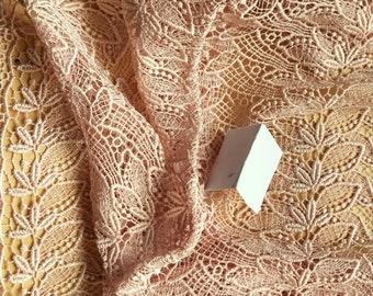 Vintage Japanese lace shawl for kimono pale musk pink lace interlocking leaves.