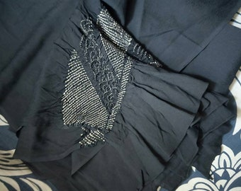 Vintage mens heko obi with shibori dyed for yukata kimono. Crepe textured, rich black.