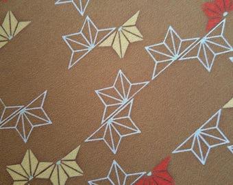 Vintage Japanese silk kimono fabric 92 cm x 36 cm  brown half asanoha hemp leaf pattern