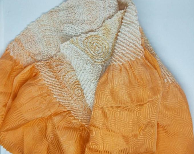 Vintage Japanese rinzu silk kimono obi-age cool orange and peach coloured silk with shibori 140 cm long