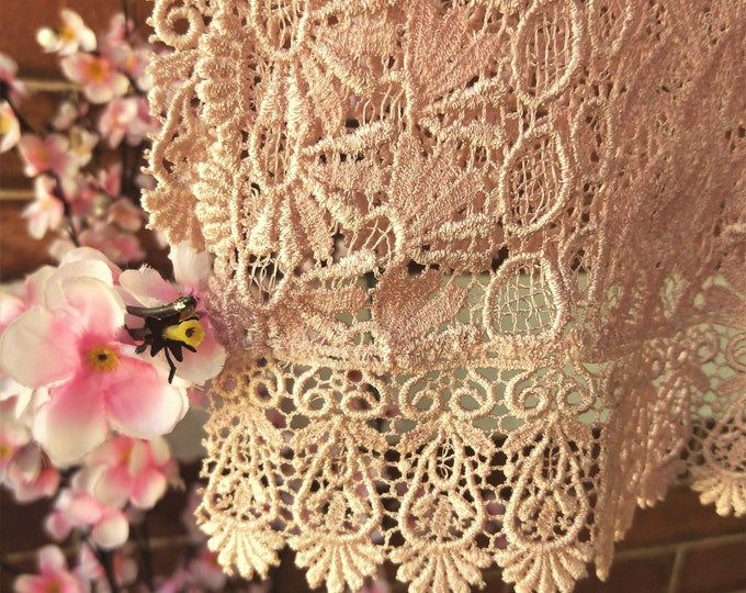 Vintage Japanese lace shawl for kimono musk dusky pink lace